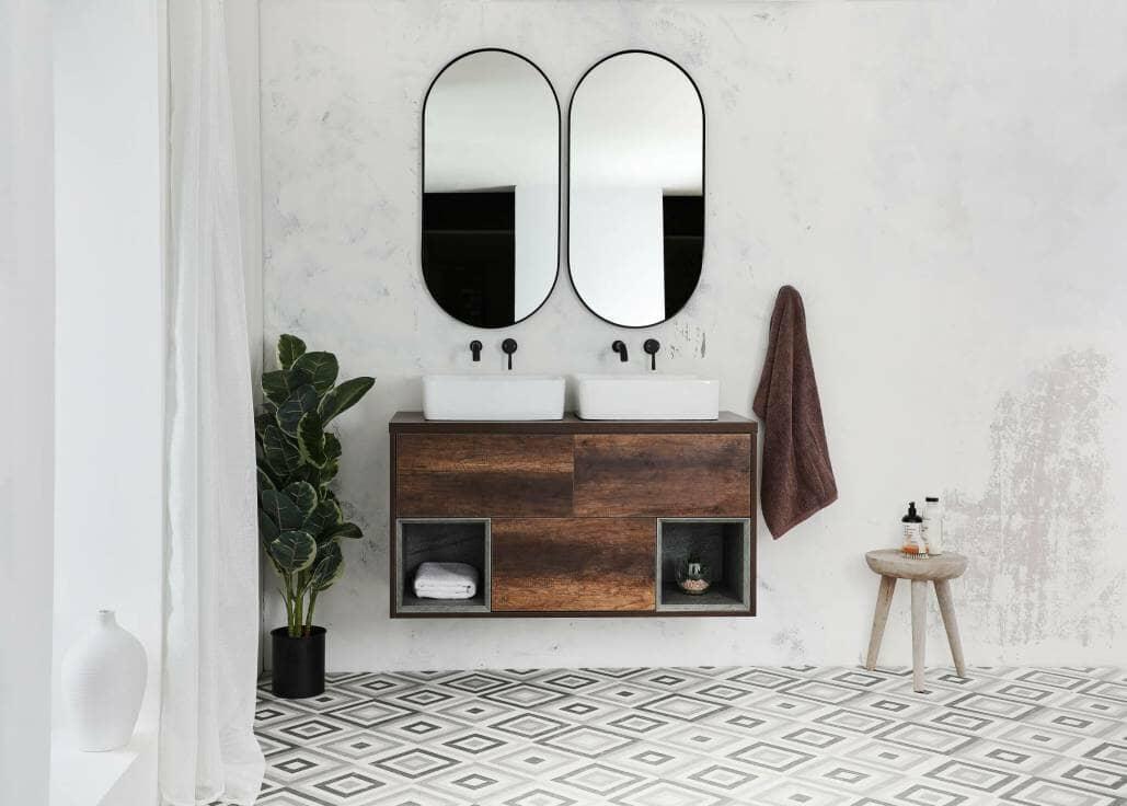 dark wood double vanity basin