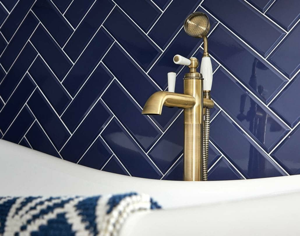 freestanding bath tap in brushed gold
