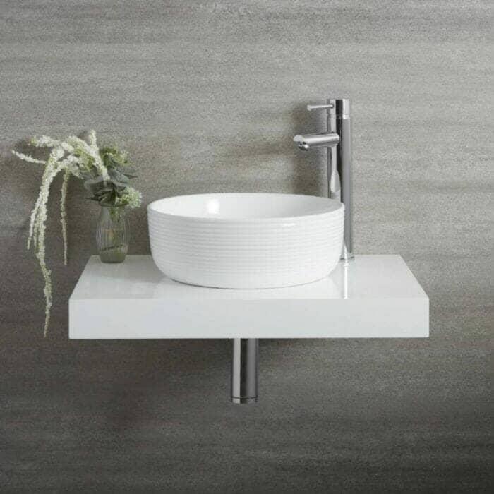 Milano Art - White Modern Ribbed Edge Round Countertop Basin