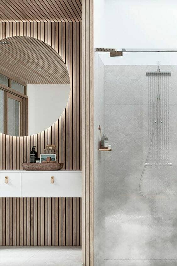 bathroom wood panelling