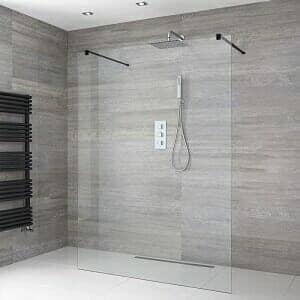 A floating wet room shower enclosure