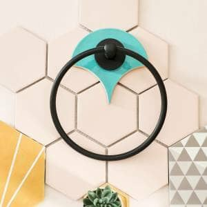 vibrant pastel and black bathroom accessories