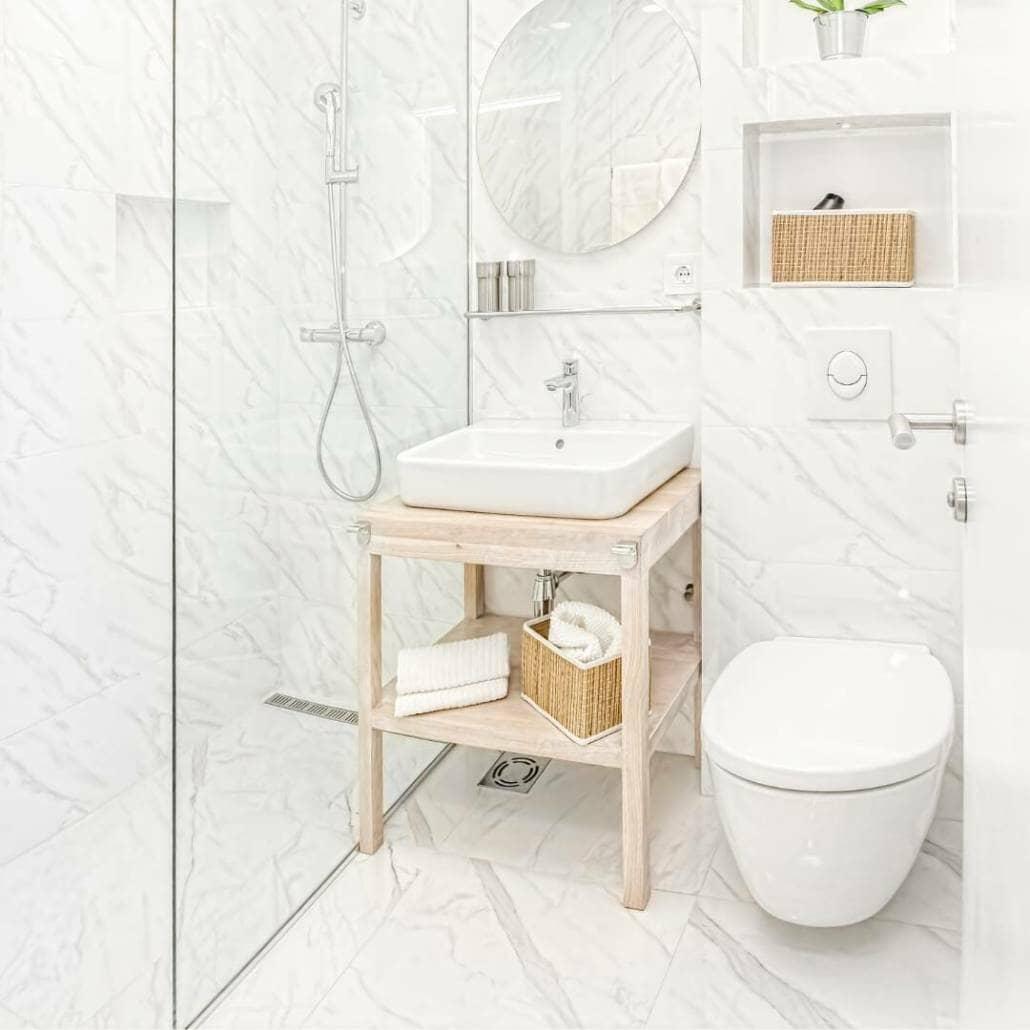 compact bathroom space