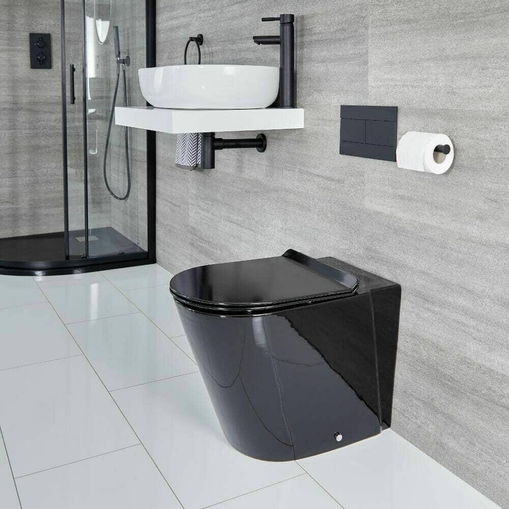 Milano Nero round back to wall toilet