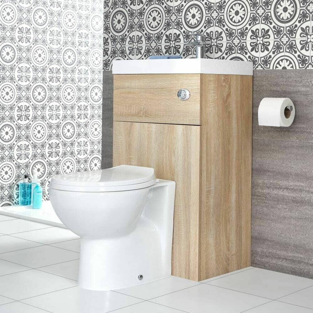 Milano Lurus oak toilet and basin combination unit