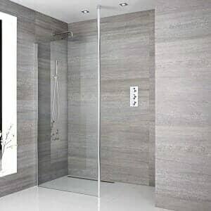 A recessed wet room enclosure