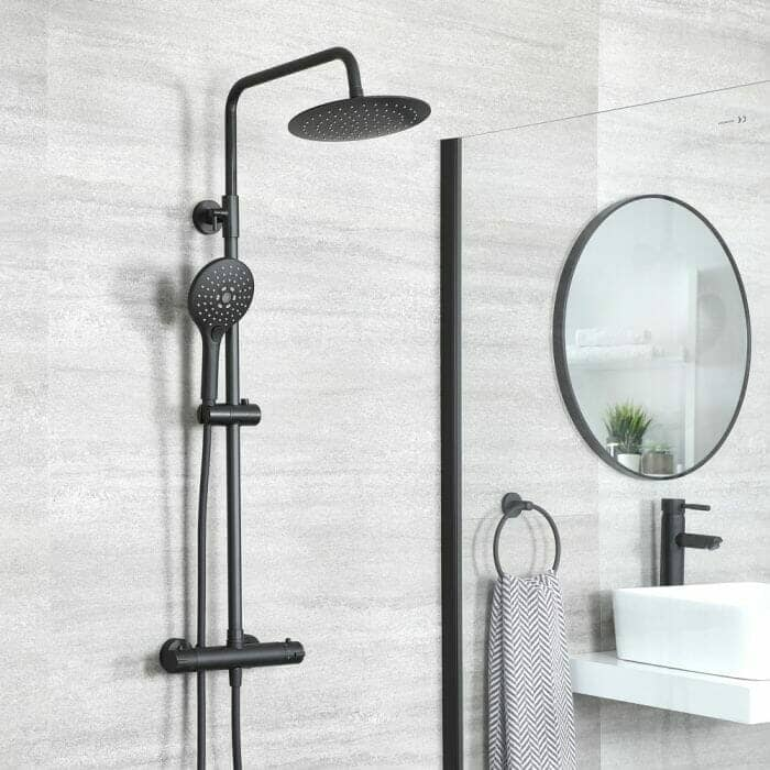 Black Thermostatic Round Bar Shower Valve with Multi Function Hand Shower