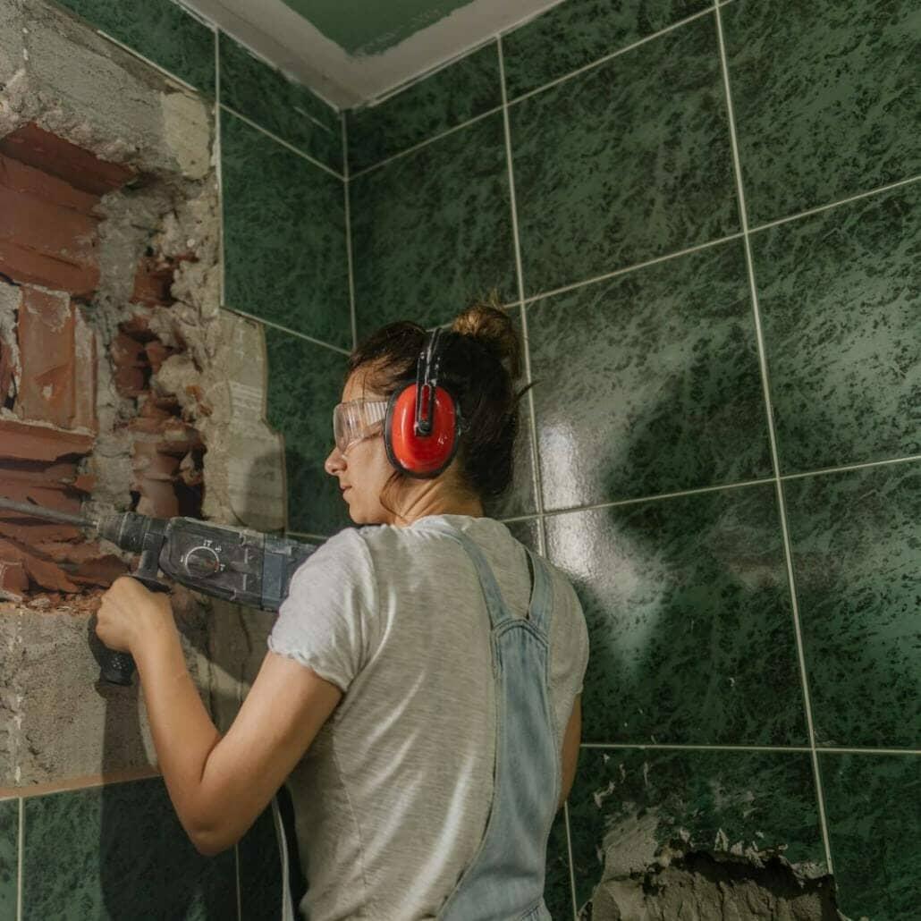 Woman updating her bathroom