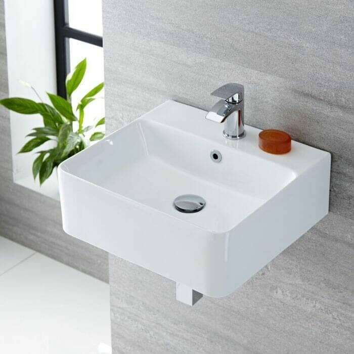 Milano Farington - White Modern Rectangular Wall Hung Basin - 460mm x 420mm (1 Tap-Hole)