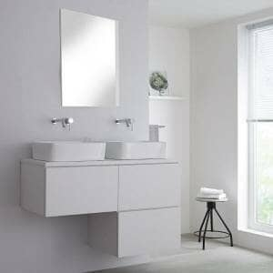 Milano Oxley White L-Shape Wall Hung Vanity Unit w/ Basins
