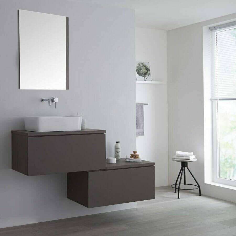 Milano Oxley Grey Wall Hung Stepped Vanity Unit w/ Basin