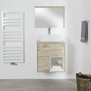 Milano Bexley - Light Oak 600mm Wall Hung Open Shelf Vanity Unit with Square Countertop Basin