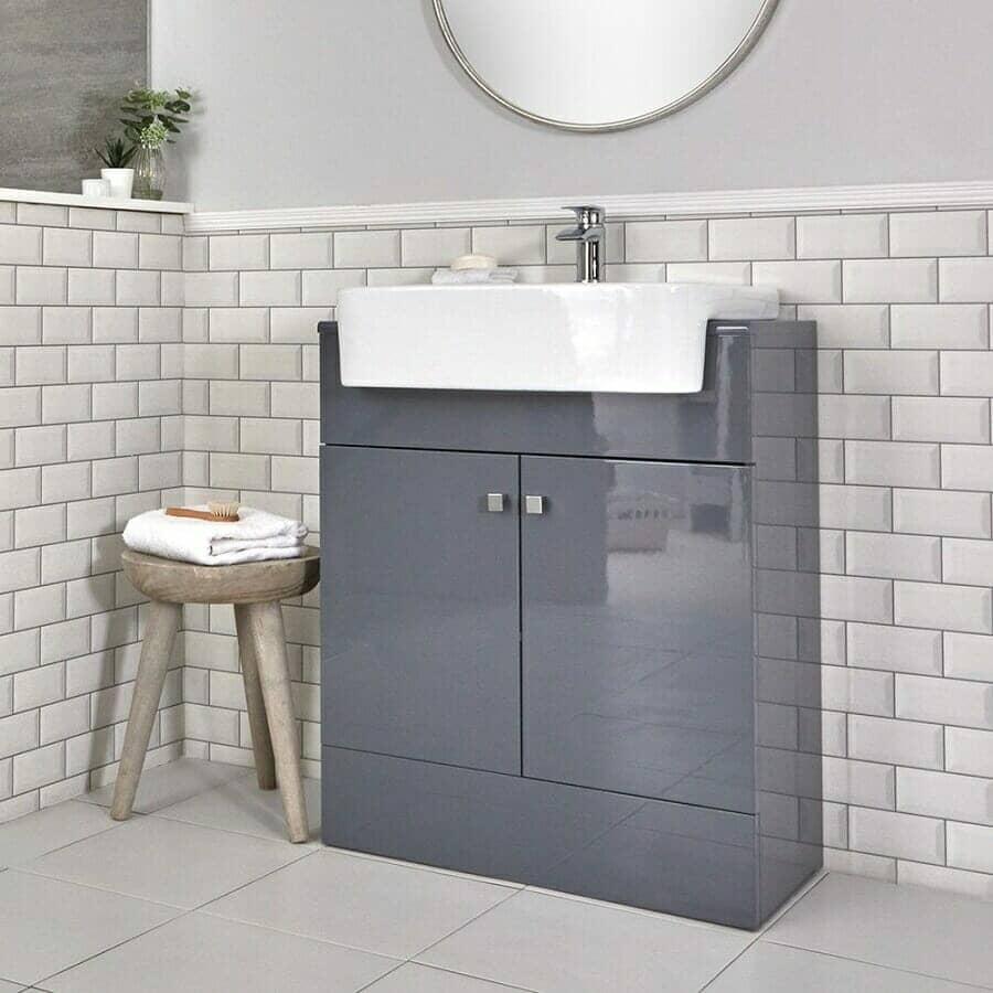 Milano Atticus Grey Modern Vanity Unit & Basin