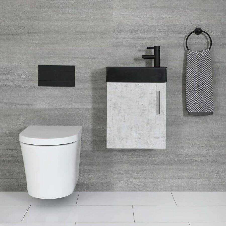 Milano Lurus Concrete Grey Wall Hung Vanity Unit w/ Toilet