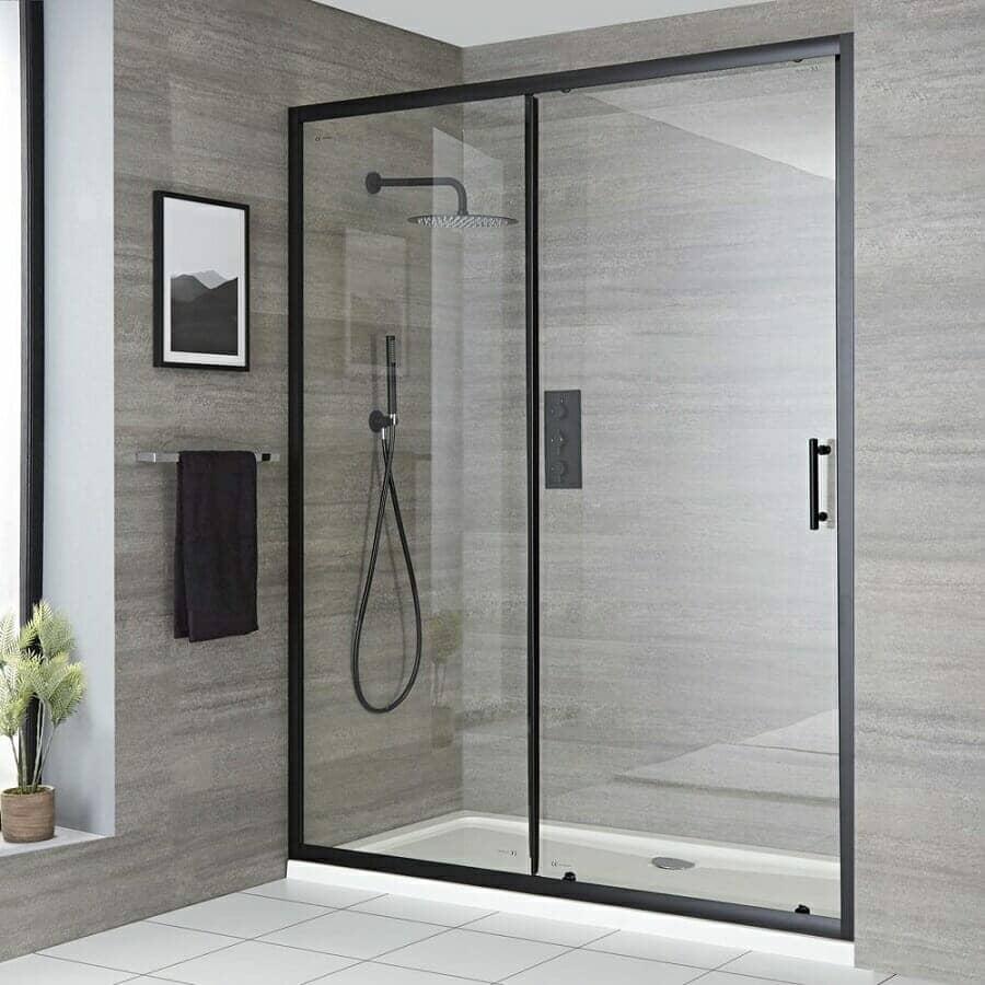 Milano Nero Recessed Black Sliding Shower Door w/ Tray