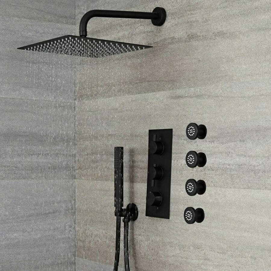 Milano Nero Black Thermostatic Shower w/ Diverter, Square Shower Head, Hand Shower & Body Jets