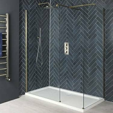 Milano Auro Brushed Gold Corner Walk In Shower Enclosure w/ Tray