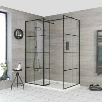 Milano Barq Corner Walk In Shower Enclosure w/ Return Panel & Tray