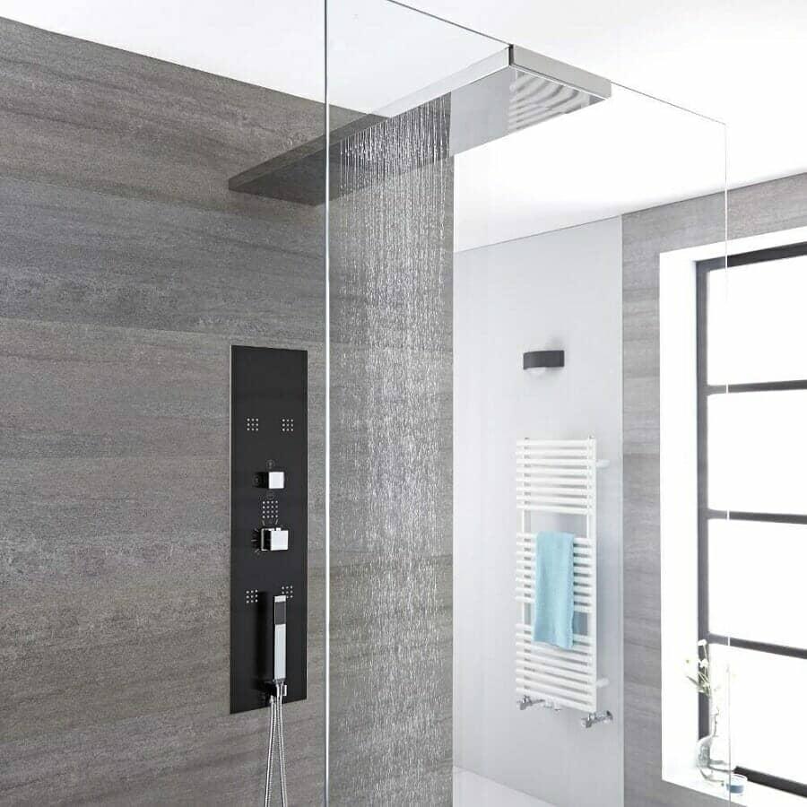 Milano Lisse Modern Concealed Shower Tower Panel w/ Glass Grabbing Shower Head, Hand Shower & Body Jets