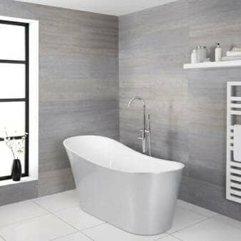 Milano Select Silver Modern Freestanding Slipper Bath