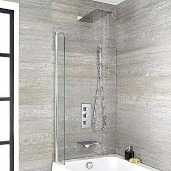 Milano Blade Chrome Thermostatic Shower w/ Shower Head, Hand Shower & Bath Filler