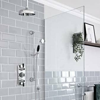 Milano Elizabeth Chrome and Black Traditional Thermostatic Shower w/ Ceiling Mounted Shower Head & Riser Rail
