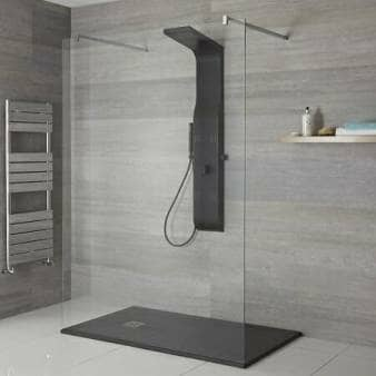 Black Milano Dalton Modern Exposed Shower Tower
