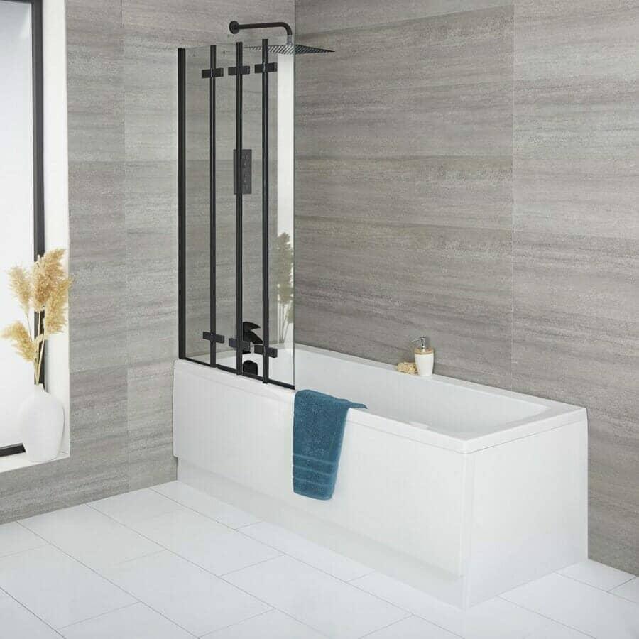 Milano Farington Standard Single Ended Bath w/ Back Folding Bath Screen & Front Panel