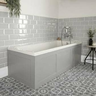 Milano Richmond White Traditional Single Ended Standard Bath w/ Light Grey Panels
