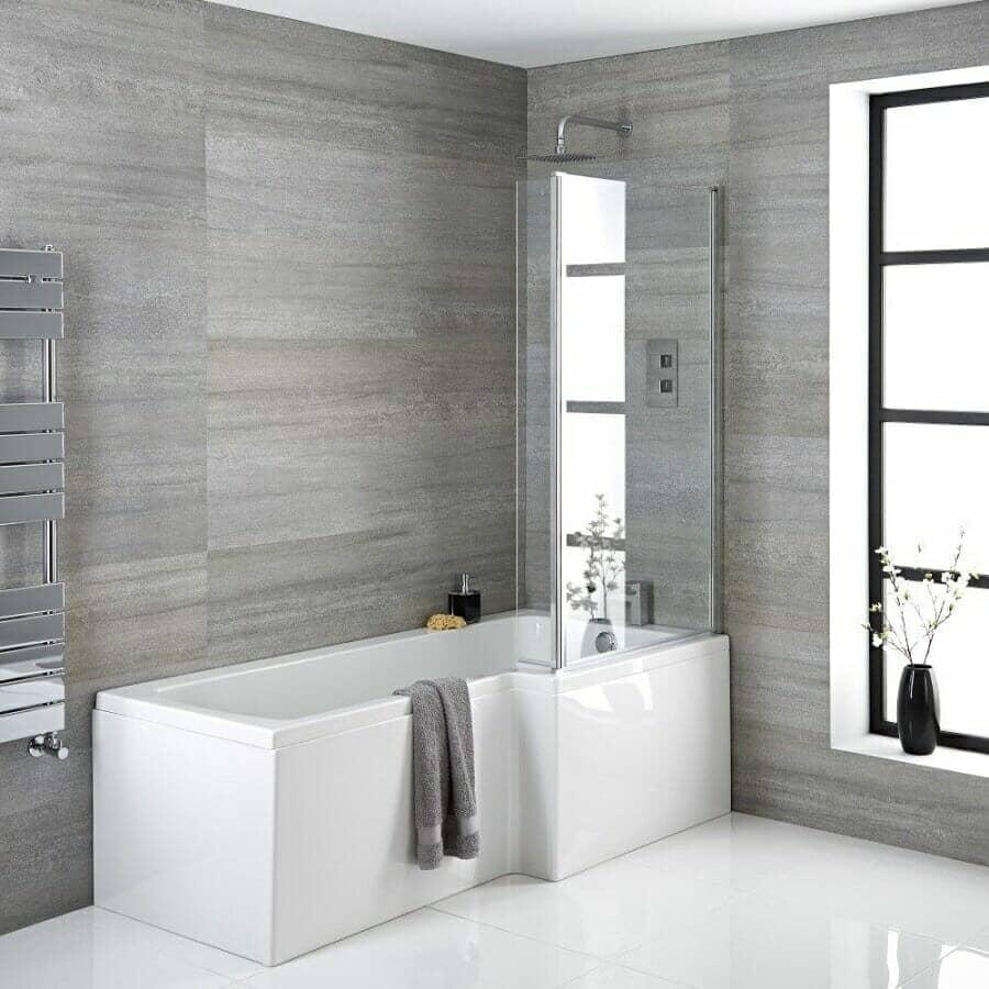 Milano Elswick Right Hand Square Shower Bath