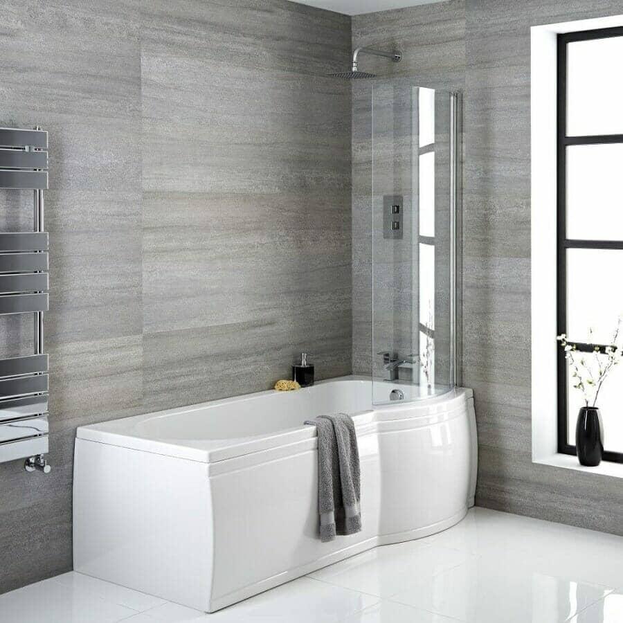 Milano Newby Right Hand P-Shape Shower Bath w/ Panels, Screen & Waste