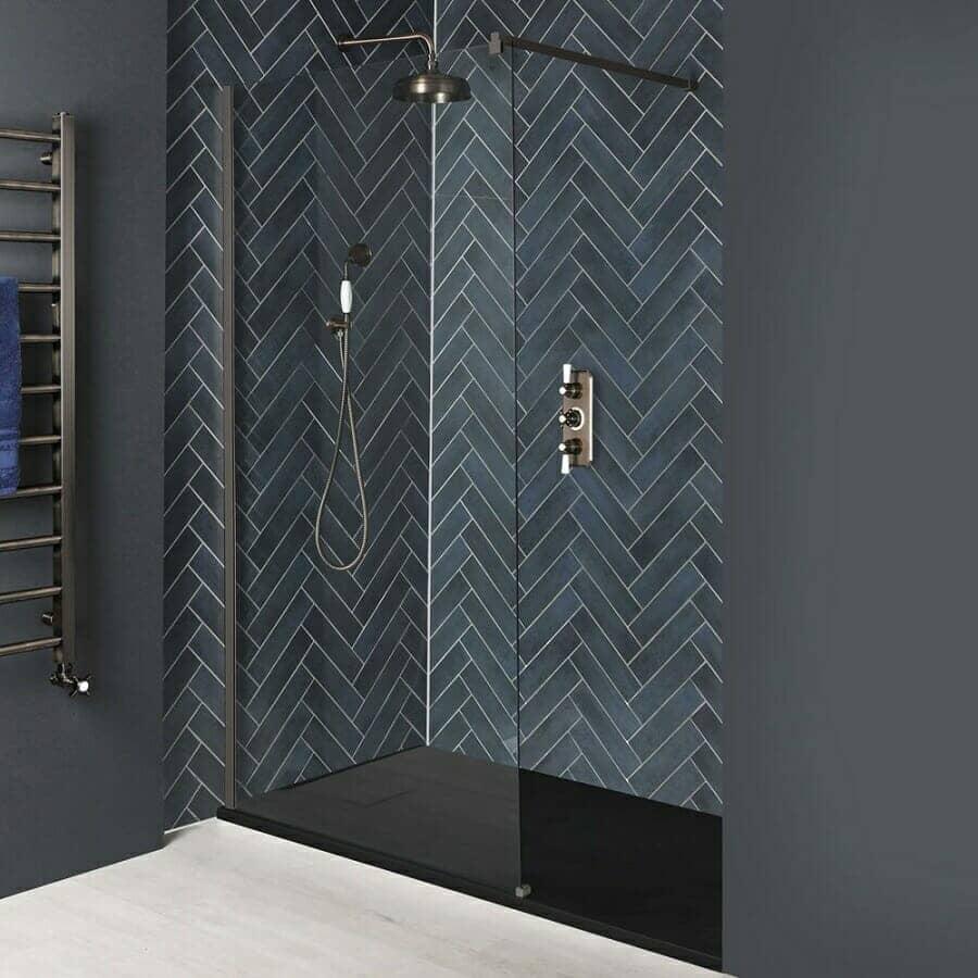 Milano Rosso Matt Bronze Recessed Walk-In Shower Enclosure w/ Slate Tray