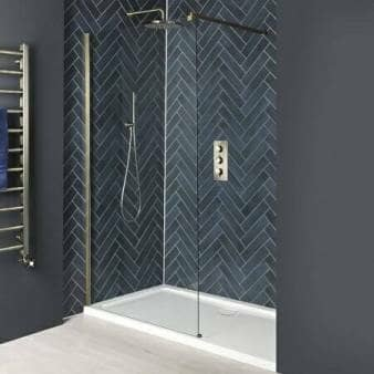 Milano Auro Brushed Gold Recessed Walk-In Shower Enclosure w/ Tray