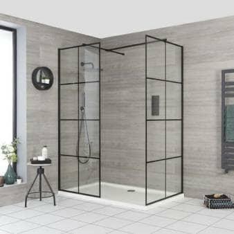 Milano Barq Corner Walk-In Shower Enclosure w/ Tray