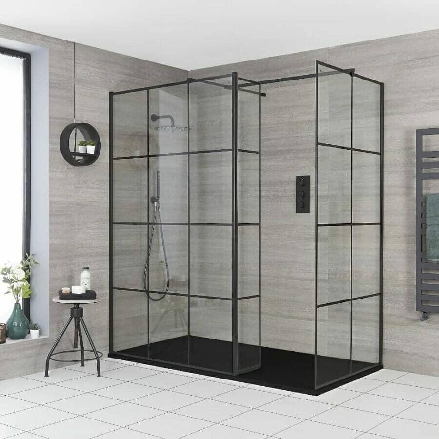 Milano Barq Corner Walk-In Shower Enclosure w/ Hinged Return Panel & Slate Tray