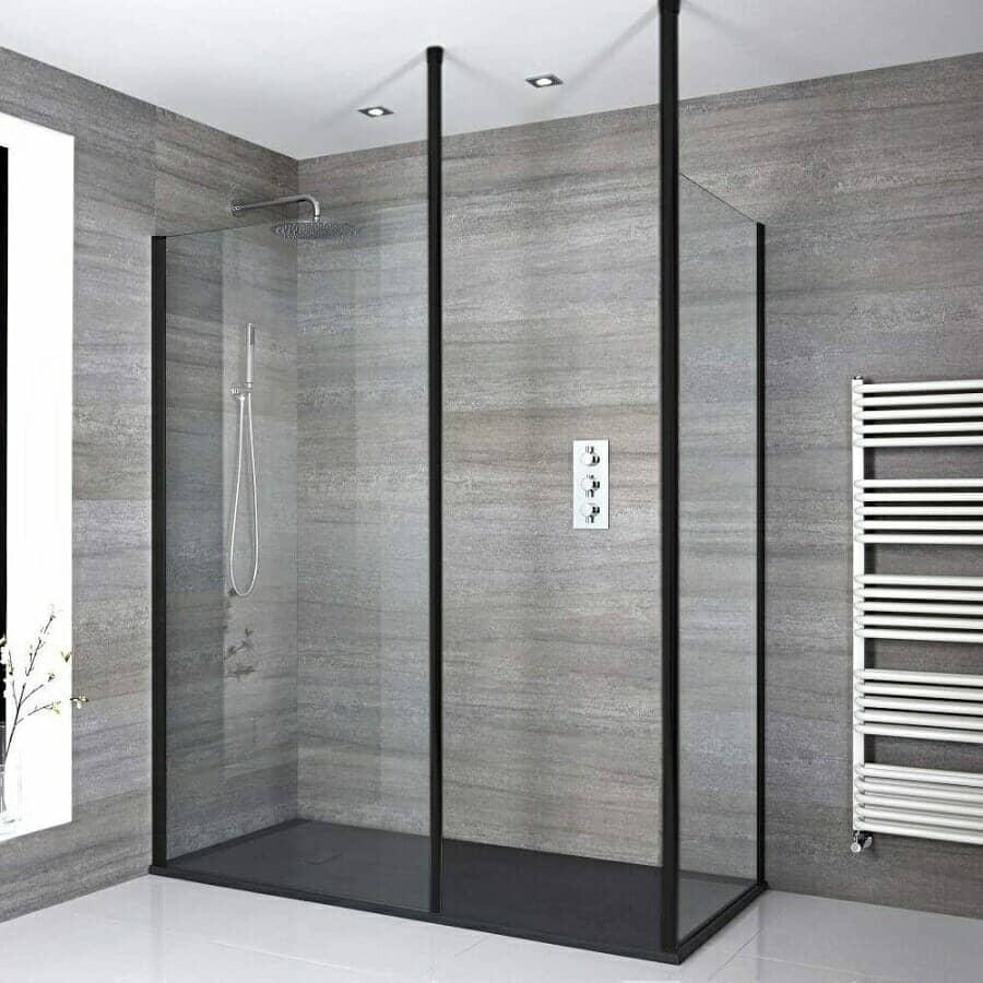 Milano Nero Modern Corner Walk-In Shower Enclosure w/ Slate Tray