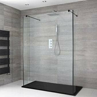 Milano Nero Floating Walk-In Shower Enclosure w/ Slate Tray & Hinged Return Panels