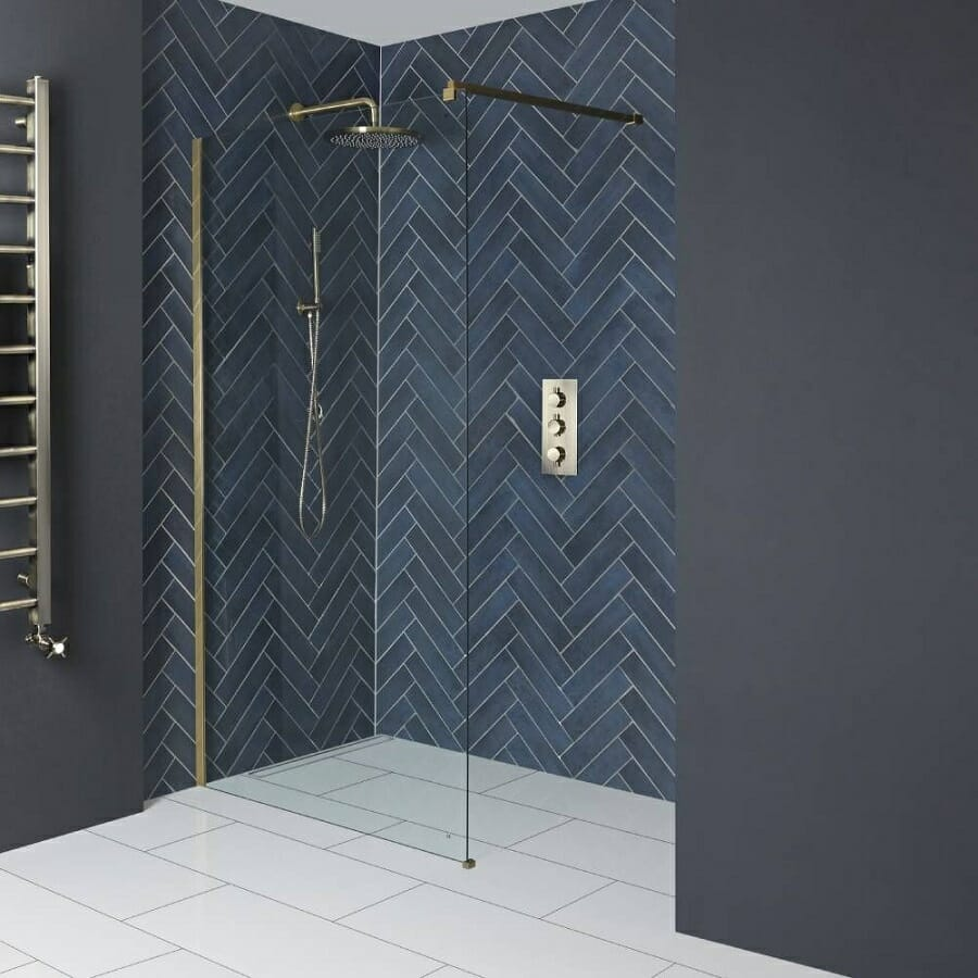 Milano Auro Brushed Gold Wet Room Screen