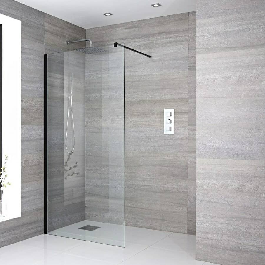 Milano Nero Wet Room Screen