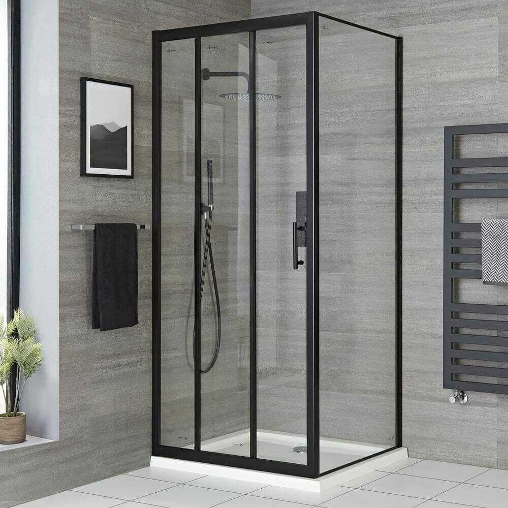 Milano Nero Black Sliding Door Shower Enclosure w/ Tray