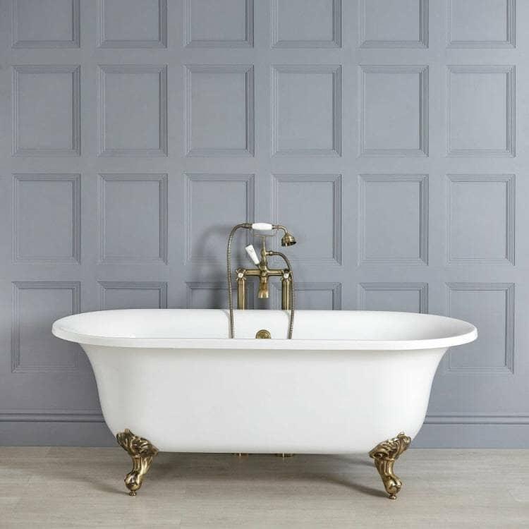 Milano Richmond White Traditional Freestanding Bath w/ Brushed Gold Feet