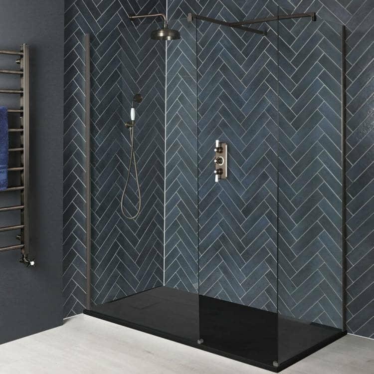 Milano Rosso Matt Bronze Corner Walk-In Shower Enclosure w/ Slate Tray