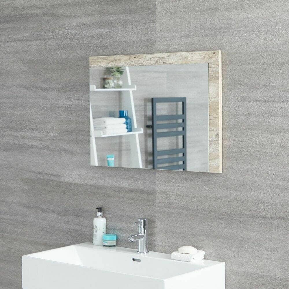Milano Bexley Light Oak Modern Wall Hung Mirror 700mm x 500mm