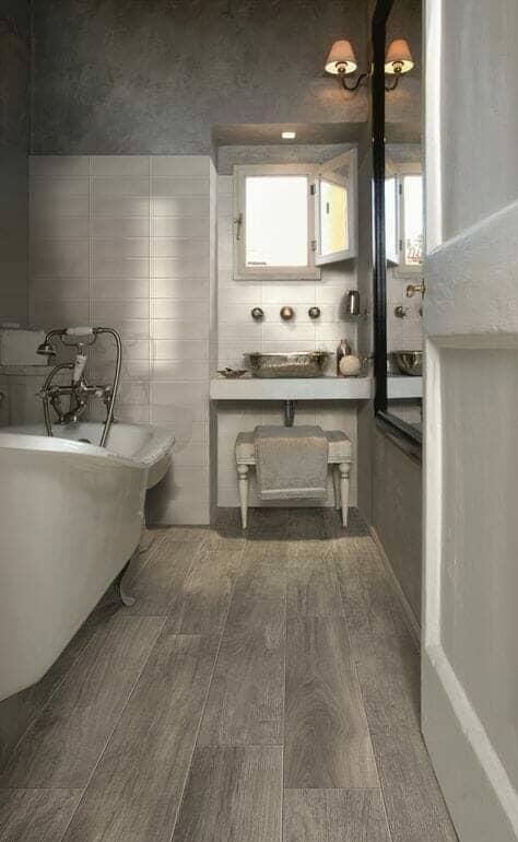 wooden bathroom floor