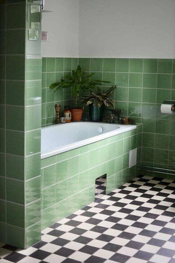 Sage green bathroom tiles