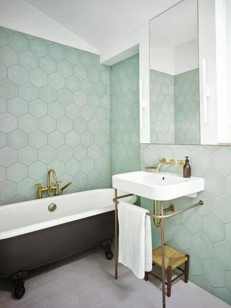 Pastel green bathroom tiles