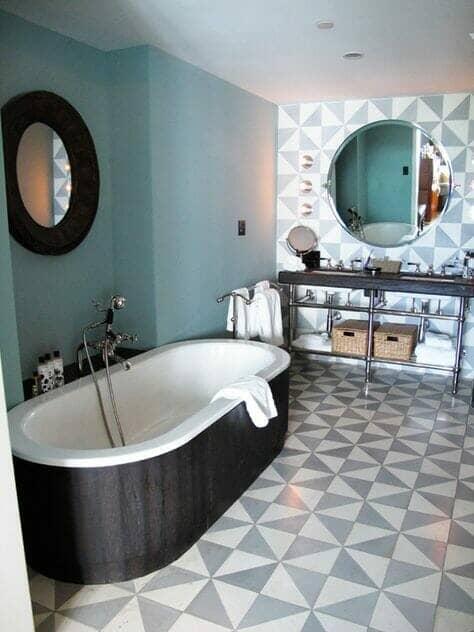 Stone blue bathroom
