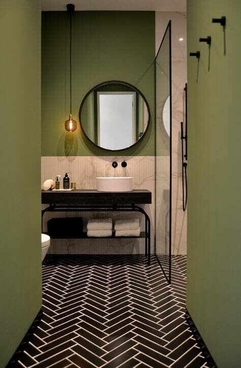 Painted green bathroom walls