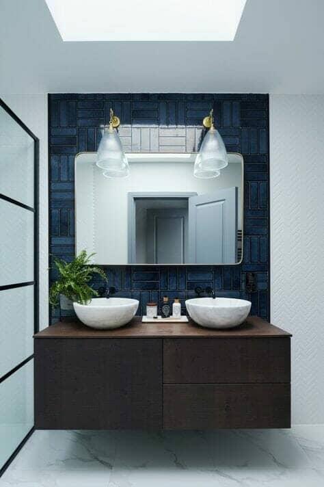 blue wall tiles in bathroom