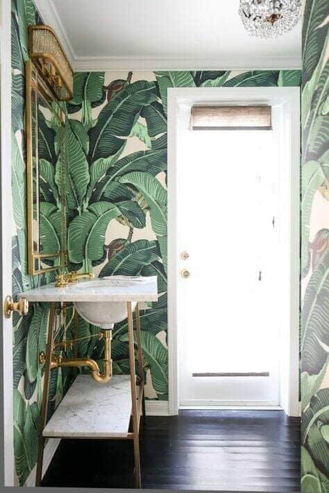 Tropical bathroom wallpaper